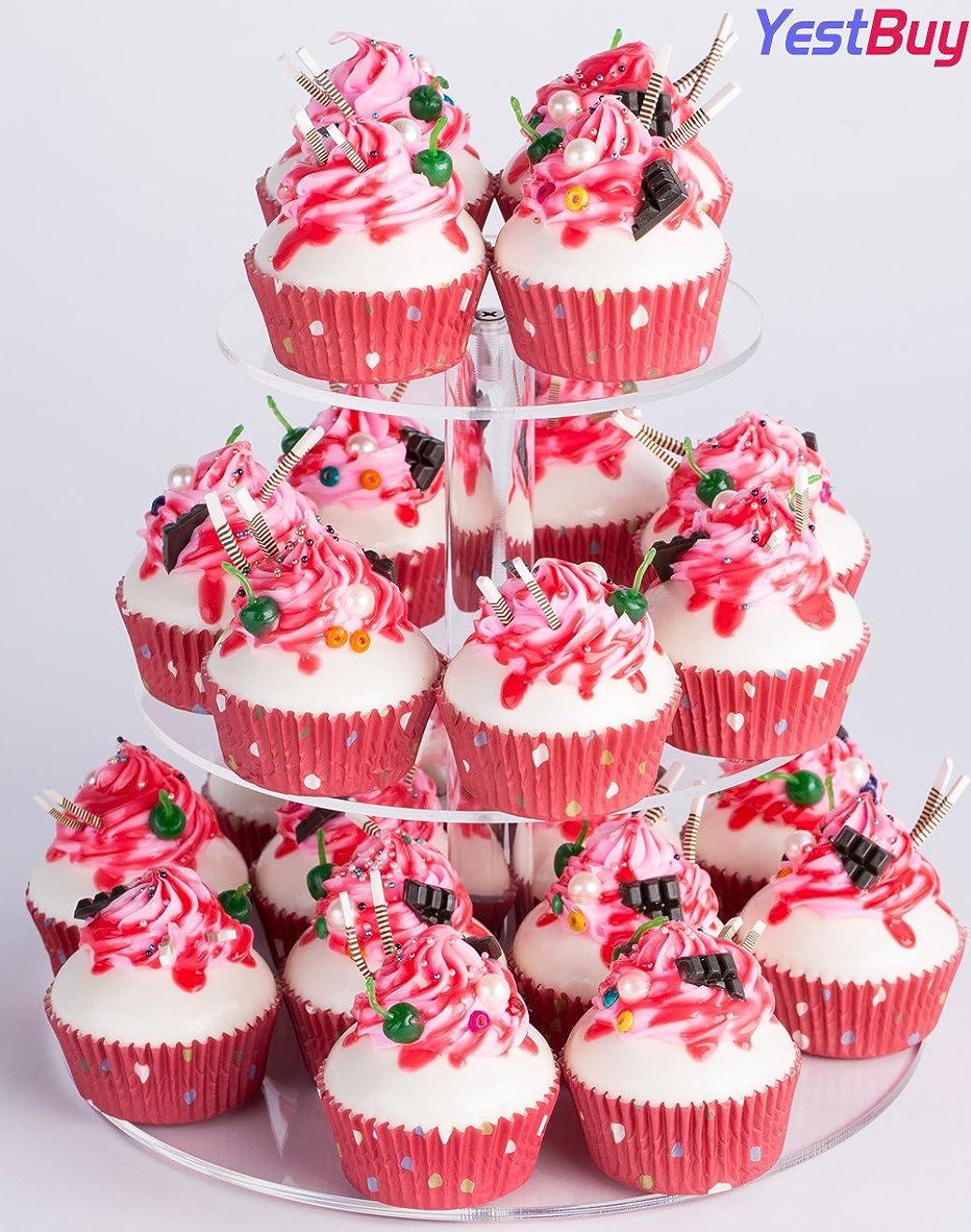 ペニー書き出す熱心なYestBuy 3 Tiers Round Party Wedding Birthday Clear Tree Tower Acrylic Cupcake Stand (8.7 Inches) by YEST