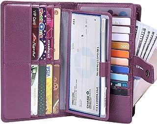 Itslife Women's Big Fat Rfid Leather wallet clutch organizer checkbook holder (Purple)