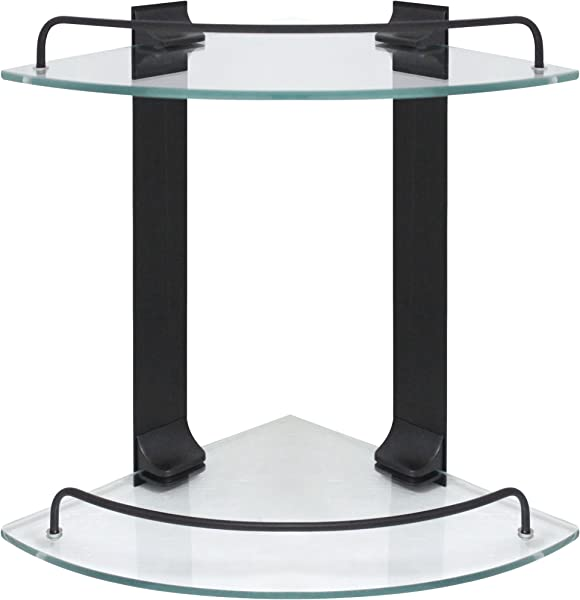 MODONA Double Corner Glass Shelf With Rail Rubbed Bronze 5 Year Warrantee
