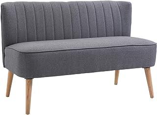 homcom Divano a 2 Posti da Salotto e Soggiorno Moderno Tessuto di Lino 117 × 56.5 × 77cm Grigio