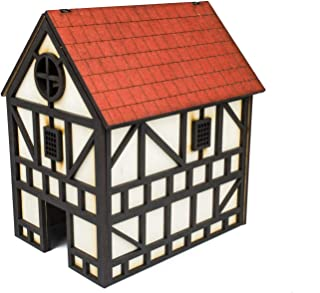 War World Gaming Medieval Town Two Storey House (Painted) - 28mm Heroic Scale Fantasy WargamingTerrain Model Diorama Tabl...