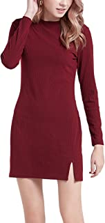 The Elements - Women's Long Sleeve Crew Neck Line Mini Ribbed Dress with Slit