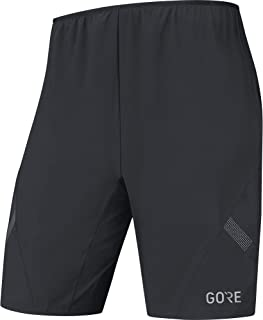 GORE Wear Men's 2in1 Breathable Running Shorts, GORE Wear R5 2in1 Shorts, Size: L, Color: Black, 100001