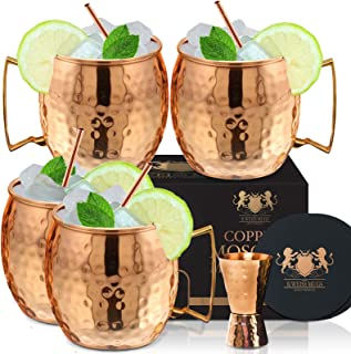 Copper Mugs Set Of 4 Moscow Mule By B.WEISS Handmade Hammered Copper Cups 100% Pure Copper Comes in an elegant gift box+Bo...
