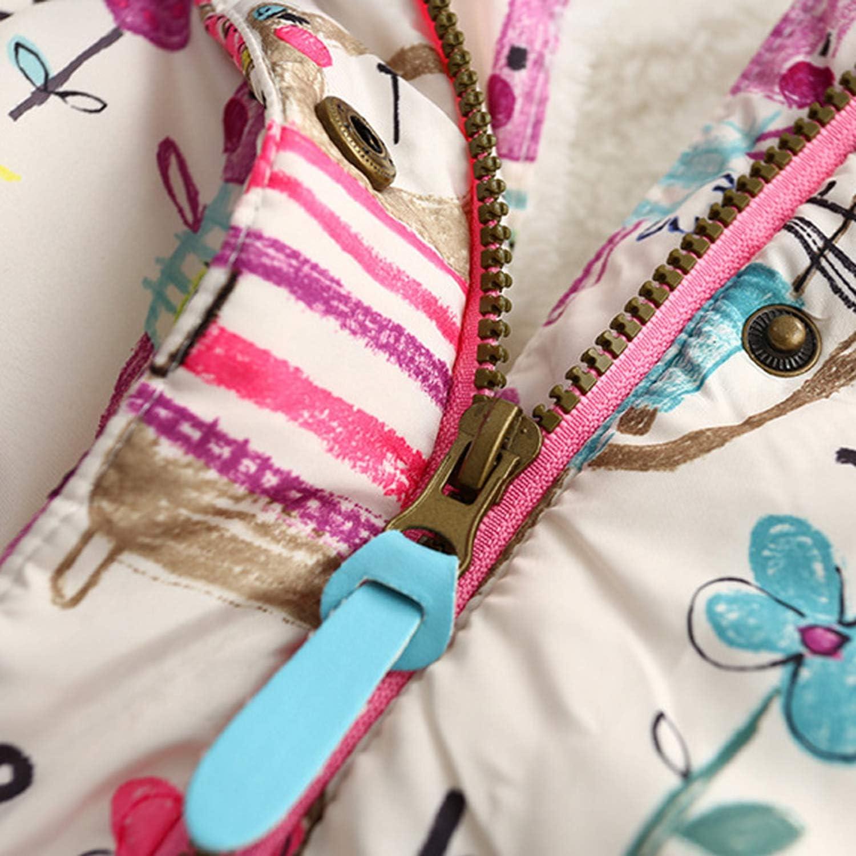 Guy Eugendssg Autumn Winter Children Jackets for Girls 1-7T Graffiti Parkas Hooded Coats Baby Girls Warm Outerwear