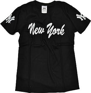 レディースTシャツ 半袖 流れ文字 Majestic (マジェスティック) NEW YORK YANKEES(ニューヨークヤンキース) 綿100%