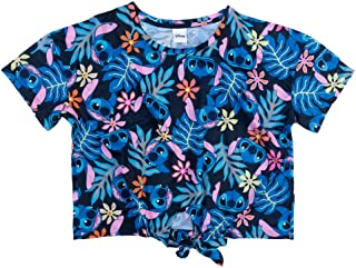 Womens Disney Lilo and Stitch All Over Print Palm Trees Hawaiian Tie Front T Sh
