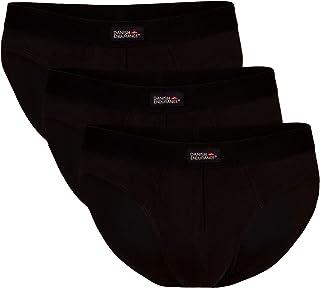 DANISH ENDURANCE Men's Cotton Briefs 3 Pack, Tag-Free, Classic Underwear Pants, Comfortable Hip Waistband, White, Black