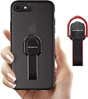 iPhone 8/ iPhone 7 Case with Finger Strap & Ring Kickstand, Shockproof Slim Fit Hard Cover with Finger Grips Loop for Apple iPhone 8/ 7 , Support Magnetic Car Mount and Wireless Charging (Black)