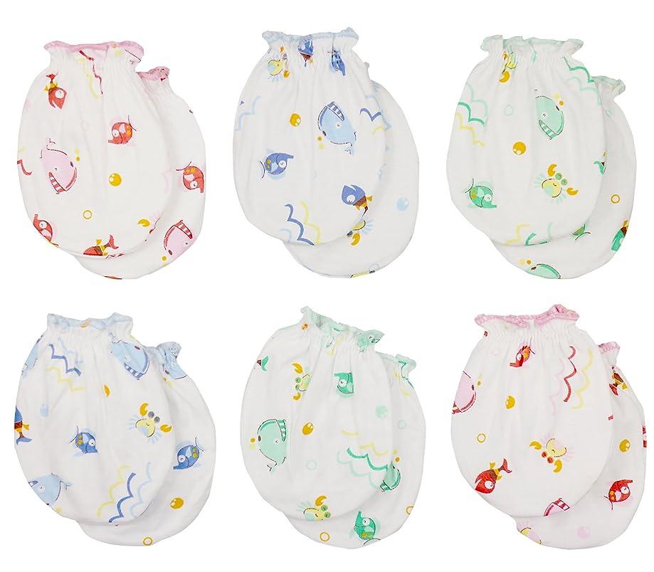 Clickcago Newborn Baby Boys and Girls Gloves,No Scratch Mittens 100% Cotton 6/12 Pair