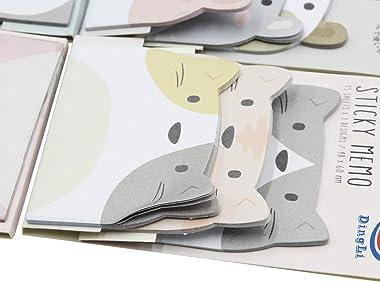 MINGSEECESS 6 Packs Cute Animal Cartoon Sticky Notes Self-Stick Memo Pad Sets for Pet Lovers Women Girls