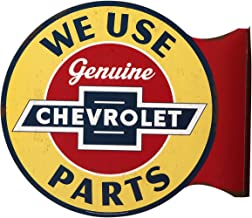 Open Road Brands Chevrolet Genuine Parts Embossed Sign - Vintage Retro Metal Tin Signs - for Garage Art, Man Cave and Home Decor