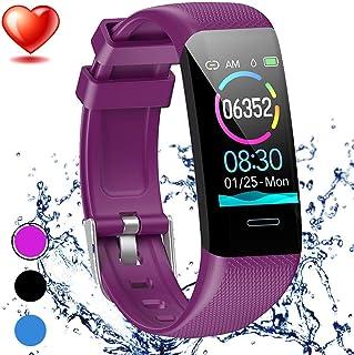 YLJYJ Rastreador Fitness,Monitor de Frecuencia Cardíaca con Presión Arterial IP67 Llamada a Prueba de Agua SMS Recordar para Hombres Mujeres Niños Compatible para Android iPhone