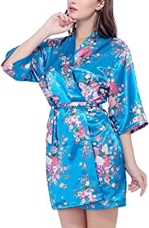 Silk Satin Bride Robe Bathrobe Short Kimono Robe Night Robe Bath Robe Dressing Gown