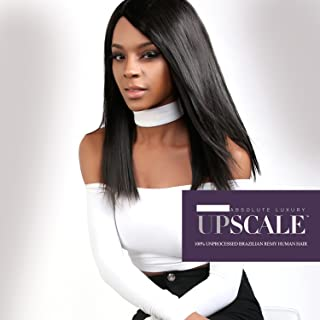 UpScale 100% Unprocessed Brazilian Virgin Remy Human Hair Lace Front Wig Natural Color (Natural Straight 18