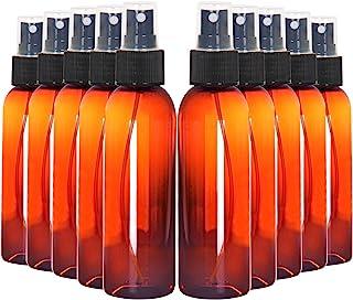 Youngever 10 Pack 120ml Amber Plastic Spray Bottles, Refillable Plastic Spray Bottles with Lids, Empty Fine Mist Plastic Mini Travel Bottles