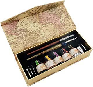 GC QUILL Calligraphy Pen Set, Glass Dip Pen and Handcrafted Wooden Dip Pen Gift Set with 5 Colors Calligraphy Ink 6 Nibs 1...
