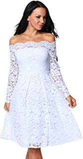 Shopall Women's Floral Lace Vintage Boat Neck Cocktail Party Formal Swing Dress