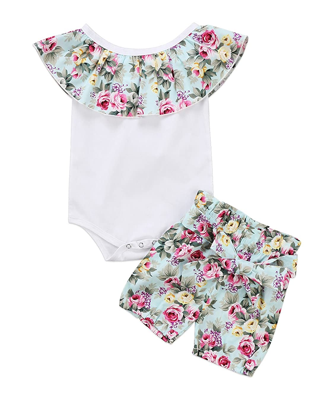 Urkutoba Cute Baby Girl 2pcs Lotus Ruffle Collar Sleeveless Floral Romper+Bowtie Short Pants Outfit Set