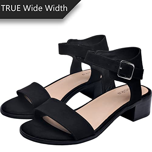 7191f0400ca4 Women s Wide Width Heeled Sandals - Classic Low Block Heel Open Toe Ankle  Strap Suede Summer