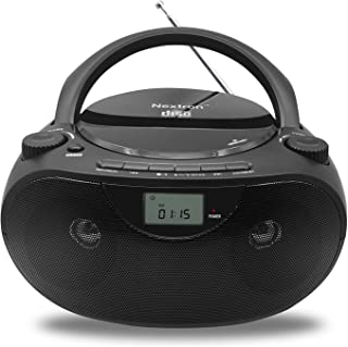 Nextron Portable Bluetooth CD Player Boombox with AM/FM Radio Stereo Sound System, Playback CD/MP3/WMA, USB & AUX Ports, H...