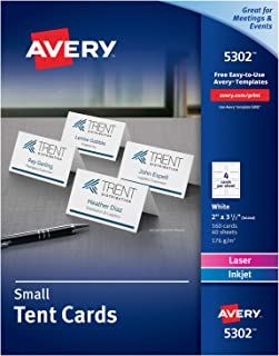 Avery Place Cards, Laser & Inkjet, 160 White Printable Cards, 2 x 3.5 (5302)