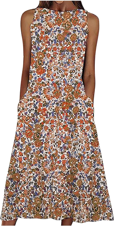 Beach Dresses for Women Print Beach Holiday Dress Round Neck Big Swing Pocket Maxi Sundress Comfy Sleeveless Skirt