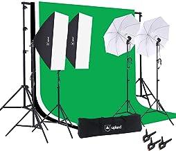 کیت روشنایی آتلیه استودیو Upland Photography ، 800W 5500K Umbrella Softbox به طور مداوم با کیت ایستاده در پس زمینه برای فیلمبرداری با پرتره در عکس