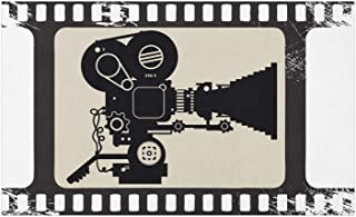 Ambesonne Movie Theater Doormat, Movie Frame Pattern with Silhouette of Movie Reels in a Projector, Decorative Polyester Floor Mat with Non-Skid Backing, 30