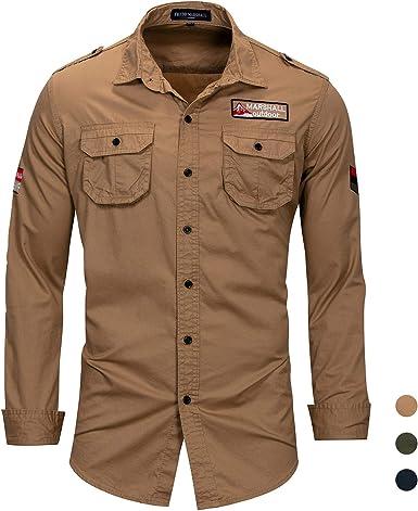 Camisa Militar de algodón para Hombre,Camisa Ocio de Manga ...