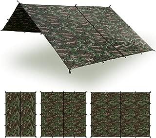 Aqua Quest Safari Tarp - 100% Waterproof Lightweight SilNylon Bushcraft Camping Shelter - 10x7, 10x10, 13x10, 20x13 Olive Drab or Camo