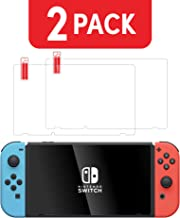 Nintendo Switch Screen Protector (2 Pack) by TalkWorks | Anti-Glare & Scratch Resistant Tempered Glass | Easy-Install Ultra-Thin HD Glass Screen Cover Film Back