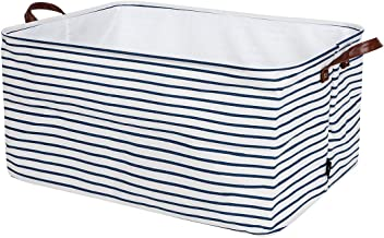 DOKEHOM 22-Inches Thickened X-Large Storage Basket -22x15x13 Inches- Drawstring Canvas Underbed Storage, Square Cotton Linen Collapsible Toy Basket (Blue Strips, XL)