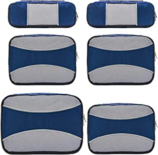 6 Set Travel Packing Cubes Clothing Storage for Men Women Kids, Luggage Packing Organizers Compression Pouches Prefect for Traveling Navy Blue