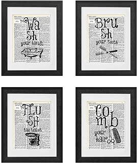 akeke Bathroom Quotes & Sayings Vintage Book Art Prints - Set of 4-8
