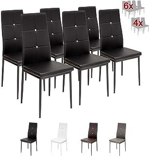 Albatros 3098 Diamond Set de 6 sillas de Comedor, Negro, SGS Tested