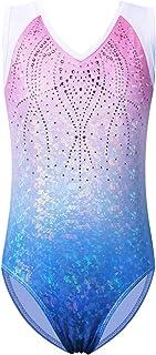 BAOHULU Girls Gymnastic Leotard One-Piece Ballet Dance Wear Blue HotPink Teen Kid Toddler Size 3-12Y