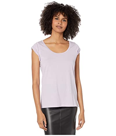Chaser Recycled Vintage Jersey Roll Sleeve Scoop Neck Tee (Hydrangea) Women
