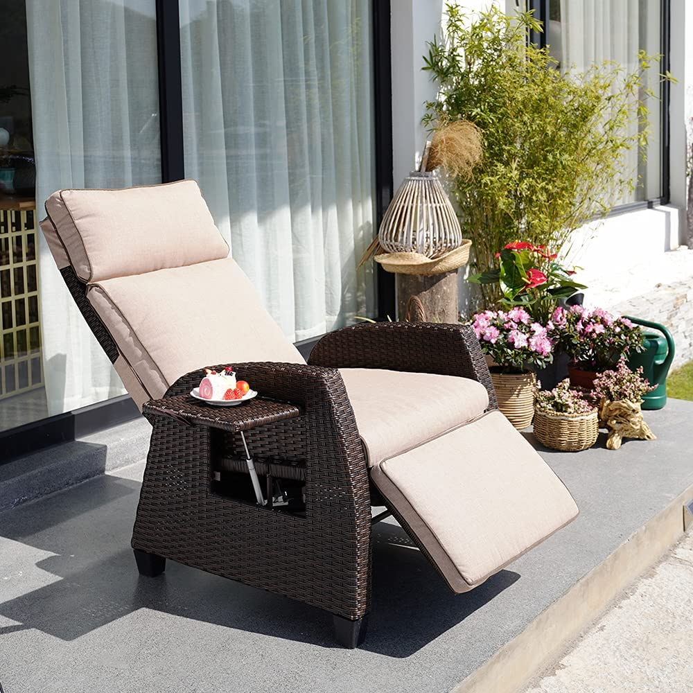 Aiscool Grand Patio New mail order Recliner Chair C Wicker Knitting favorite Adjustable