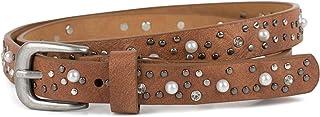 styleBREAKER cinturón fino remaches, perlas y estrás, cinturón de remaches «vintage», reducible, señora 03010086