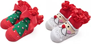 Ehdching First Christmas and Holiday Cotton Unisex Newborn Baby Infant Toddler Gift Socks (12-24M)