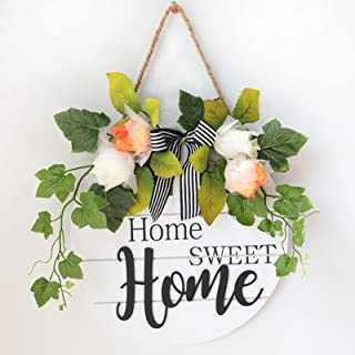 Manheat Welcome Sign for Front Door Decor Sweet HOME USA Round Wood Hanging Farmhouse Porch Décor Spring Wreath for Home O...