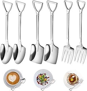 6Pcs Stainless Steel Shovel Spoon Set, Creative Spade Spoon Fork Set, Novelty Spade Teaspoons, Fashion Tableware Shovel Sp...