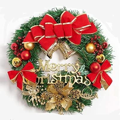 30cm SWEEPID Christmas Wreath Christmas Tree Round Ring Handcrafted Elegant Holiday Wreath Multicolor 30