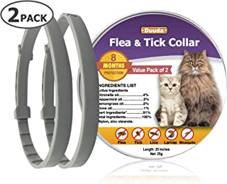 Duuda 2 Pack of Flea and Tick Collar for Cats - 8 Months Continuous Protection and Prevention - Waterproof and 100% Natura...