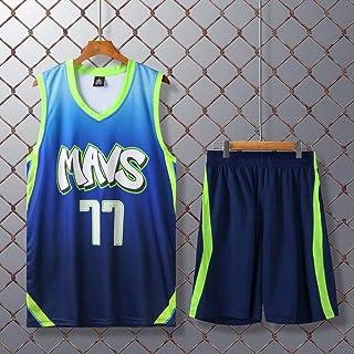 NBA Lukadoncic #77 Dallas Mavericks Basketball Jersey Kids Boys Girls Baby Men Retro Summer Suit Uniform Top & Shorts 1 Se...