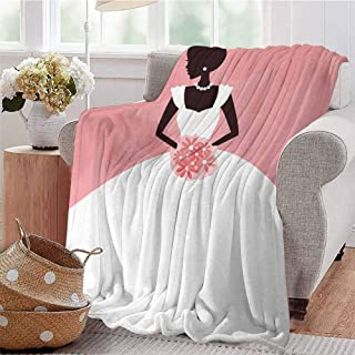 CRANELIN Travel Throw Blanket Wedding Dress with Flowers Abstract Backdrop Celebration Print Black White and Salmon Bed Sleeping Travel Pets Reading W71 xL90