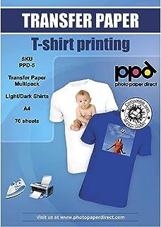 PPD Paquete de papel de transferencia para camisetas oscuras y claras para impresión con inyección de tinta A4 X 20 hojas telas oscuras y 50 hojas telas claras PPD-5-70