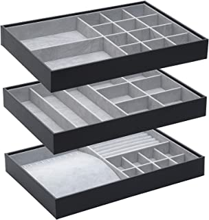 صندوق تخزين إكسسوارات لتنظيم المجوهرات قابل للتكديس لخزانة خزانة خزانة الأدراج، صندوق عرض الأدوات، مجموعة من 3