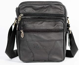 100% Leather Shoulder Bag - Mens Business Messenger Backpack Crossbody Casual Tote Sling Travel Bag with Top-Handle and Adjustable Strap, Black Large Size